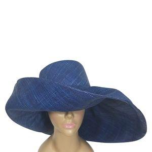 Hand Woven Blue Madagascar Big Brim Raffia Hat